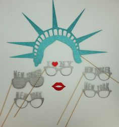 New York Photo Booth Props I love New York Glasses for New Years Party Lady Liberty