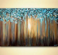 Paisaje a espátula florecer árboles pintura verde por OsnatFineArt