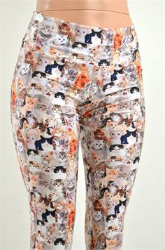 Kitty Cat Kitten Print Folded Waistband Leggings