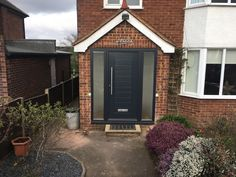 Solidor Front Door - 2 Side Lights - SWR Redefining Homes Brick Porch, Porch Windows, Porch Doors, Front Door Entrance, Front Doors, Porch Uk, House Front Porch, Front Porch Design, Porch Extension