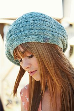 The Seafoam Tam by Catherine Sheilds, featuring Savannah in Seafoam (appropriately named!), published in the upcoming issue of Knitscene Spring 2013