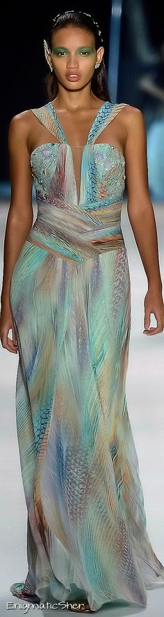 Not Ralph Lauren but I added this pic. Great gown by Victor Dzenk Summer 2015 Ready-To-Wear line. Reminds me of the colors of the sea...beautiful.