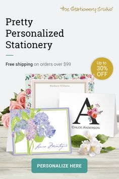 Save up to 30% off personalized stationery and enjoy FREE Shipping on orders over $99!