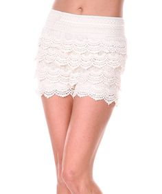This Beige Scallop Crochet Shorts by Ananda's Collection is perfect! #zulilyfinds - zulily.com                            under-shorts