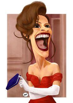 Funny Caricatures, Celebrity Caricatures, Celebrity Drawings, Cartoon Faces, Funny Faces, Cartoon Art, Julia Roberts, Caricature Drawing, Cultura Pop