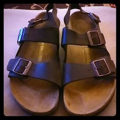 LIKE NEW!! BIRKENSTOCK/GERMANY SANDALS SZ.11BROWN LIKE NEW CONDITION!! ABSOLUTELY NO SIGNS OF ANY WEAR OR TEAR!! VERY NICE!! FIRM PRICE!! MADE IN GERMANY!!! NATURAL BROWN LEATHER. Birkenstock Shoes Sandals