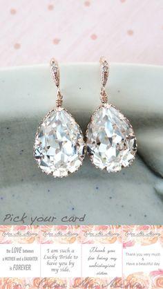 Rose Gold Bridal Swarovski Crystal Teardrop Earring - bridal gifts, drop dangle, pink gold weddings, bridesmaid earrings, Carrie