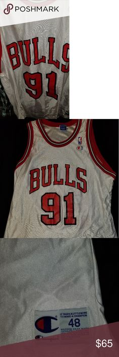 Vintage Dennis Rodman champion Bulls jersey. Rare white Dennis Rodman jersey.  Great condition. 501274d8f