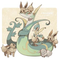 Serperior Servine Snivy and a lot of eevees