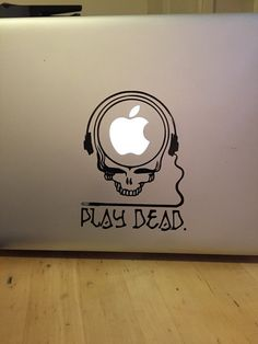 Apple Macbook play dead  Vinyl Sticker by StickemandSwitchem