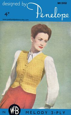 This is a great waistcoat with a wonderful cable pattern over the back and a ribbed back and the sweetest crochet buttons  Date: 1946