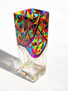 Centerpiece Vase Painted Home Decor Tall Glass Flower Vase for Wedding Decor Hand Painted Colorful Glass Vase Mocaic Glass Stained by VitraazeHand Painted Colorful Glass Vase Mocaic Glass Stained by Vitraaze Painted Glass Vases, Glass Flower Vases, Painted Wine Bottles, Flowers Vase, Painting Flowers, Flower Centerpieces, Gift Flowers, Glass Bottle Crafts, Bottle Art