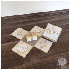 Stampin' Up! - Geburtstagskarte mit Explosionsbox - Bellas Stempelwelt - Safrangelb, Cremeweiß, Schmetterling