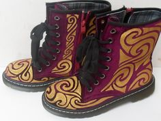 Gold and Deep Pink Velvet Hand Painted by GoAskAliceBoots on Etsy