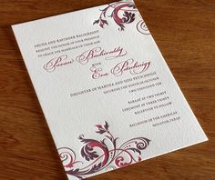fleur letterpress wedding invitation by invitations by ajalon