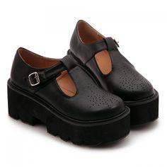 Preppy Style Round Toe and T-Strap Design Platform Shoes For Women, BLACK, 37 in Platform | DressLily.com