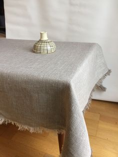 Linen Tablecloth, Natural Linen Table Cloth, Linen Tablecloth, Square Tablecloth, Rectangle Tablecloth, Rustic Linen Tablecloth with Fringes by Linenstars on Etsy