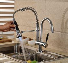 Luxury Dual Swivel Spout LED Light Kitchen Sink Faucet Deck Mount One Hole Spring Kitchen Mixer Taps #Affiliate