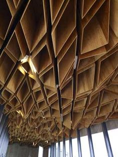 Statement timber ceiling, gorgeous for larger areas residential and commercial for example a lounge Room or a restaraunt // Hoshakuji station in Tochigi: designed by Kengo Kuma & Associates, Japan Architecture Design, Timber Architecture, Parametric Architecture, Parametric Design, Japanese Architecture, Contemporary Architecture, Building Architecture, Ancient Architecture, Sustainable Architecture