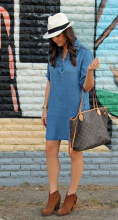 Allison of Love You, Mean It in denim shift dress and Maya Brenner Texas State Necklace