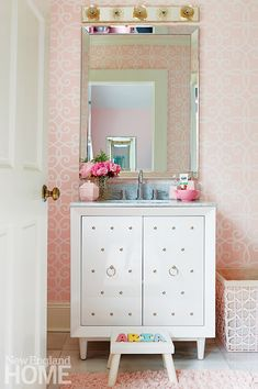 In the daughter's dainty bath, a personalized footstool is the perfect accessory. Project Team Interior design: Andrea Sinkin, Andrea Sinkin Design Photography by Michael Partenio Produced by Stacy Kunstel. Bedroom Wall, Kids Bedroom, Crushed Velvet Sofa, Creative Kids Rooms, Room Interior, Interior Design, Modern Headboard, Chinoiserie Wallpaper, New England Homes