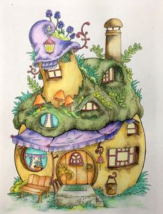 Finally time to color some in Tanya Bogema's cute book -Nice Little Town 4. Used Lyra polycolors & Tombow watercolor markers. Free Coloring Pages, Coloring Books, Coloring For Kids, Colouring, Doodle Drawings, Fantasy Drawings, Pencil Drawings, Coloring Tutorial, Nature Prints