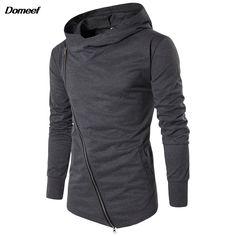 Domeef Men Hoodies Street Wear Diagonal Zipper Slim Fashion Sweatshirt Men's Tracksuit Men Assassins Creed Hoodies M-3XL