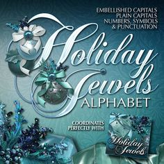 Holiday Jewels Decorative Scrapbook Alphabet  Celebrate the season with this colorful set of holiday scrapbook alphas designed to match my Holiday Jewels Scrapbooking Kit. It's got everything you need to make stunning layouts and headlines including 26 fancy capitals, 26 plain capitals, 26 lowercase letters and 26 assorted symbols and punctuation.  Make your holiday layouts sparkle!