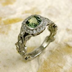 AdziasJewelryAtelier @ Etsy...Square Cushion Cut 6x6 mm Green Sapphire and Diamond Leaf Engagement Ring 14K White Gold with Milgrain - Available in Different Colors $2,500