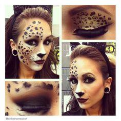 Cheetah Makeup, Animal Makeup, Glitter Makeup, Halloween Looks, Halloween Face Makeup, Halloween Costumes, Halloween 2015, Halloween Cat, Halloween Ideas