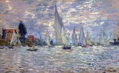 "Fully titled ""Les Barques Regates A Argenueuil,"" this lovely painting of sailboats was painted by Claude Monet, considered by many to be the founder of Impressi"