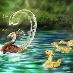 Phönix mit Küken im Teich