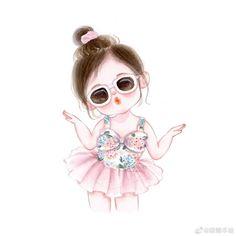 Cute Cartoon Pictures, Cute Cartoon Drawings, Cute Cartoon Girl, Girly Drawings, Cute Love Cartoons, Kawaii Drawings, Cartoon Art, Cute Girl Wallpaper, Cute Disney Wallpaper