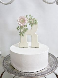 Monogram Cake Topper with Handmade Paper Flowers by carrieklein, $28.00