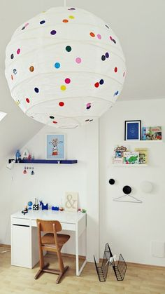 IKEA rgolit paper lamp with polka dots...