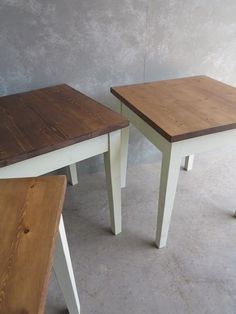 I love these hand made bespoke tables they are just perfect for a small country kitchen or conservatory made here at UKAA we can make any style table and size and hand painted in your colour choice want something special and bespoke then please do visit our website for more informtiaon and pictrures.