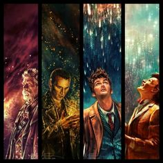 """Dr Who """"The Doctor"""" Series, 4 Piece Canvas Framed Wall Art - Geek Bling Canvas Artwork, Canvas Frame, Doctors Series, Silence In The Library, Doctor Who Fan Art, Pop Culture References, Sketchbook Inspiration, Geek Out, Dr Who"""