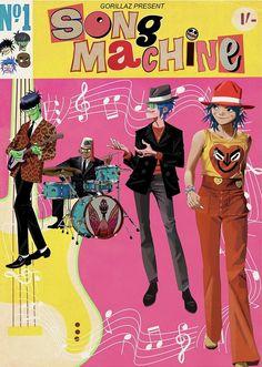 Song machine print Rock Vintage, Gorillaz Fan Art, Jamie Hewlett, The Strokes, Daft Punk, Clint Eastwood, Cute Cartoon Wallpapers, Me Me Me Song, Cool Bands