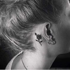 Gorgeous Rose Tattoo that Looks Great Behind the Ear