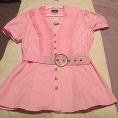Pink shirt,belt. With tags! Pink shirt with tags. Never worn! Dots Tops Blouses