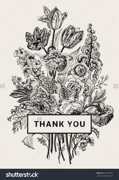Vintage Floral Card. Victorian Bouquet. Black And White Peonies, Mallow, Delphinium, Roses, Tulips, Violets, Petunia. Thank You. Vector Illustration. Monochrome. - 273290762 : Shutterstock