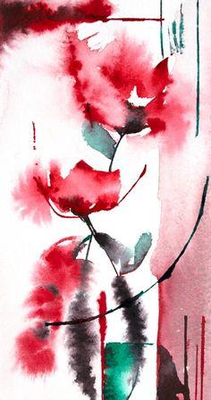 Petit instant N° 302 - Painting,  20x10 cm ©2014 Véronique Piaser-Moyen tarafından -  Boyama
