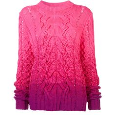 Spencer Vladimir Ombre Pink Sweater (4.780 BRL) ❤ liked on Polyvore featuring tops, sweaters, shirts, kirna zabete, fashion week essentials, kzloves, pink cable knit sweater, loose shirts, cable sweater and pink long sleeve shirt