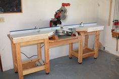 Miter Saw Table - by rkober @ LumberJocks.com ~ woodworking community Mitre Saw Station, Table Saw Station, Learn Woodworking, Woodworking Lamp, Woodworking Organization, Easy Woodworking Ideas, Woodworking Courses, Antique Woodworking Tools, Essential Woodworking Tools