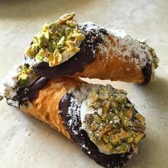 Mini chocolate dipped cannolis topped with pistachios from @iscreamcannoli   Tag a friend who would love this & tag us in your #foodtruck photos or use #hirefoodtrucks to get featured!