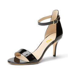 #FSJshoes - #FSJ Shoes Women's Black Patent Leather Stiletto Commuting Heel  Ankle Strap Sandals - AdoreWe.com