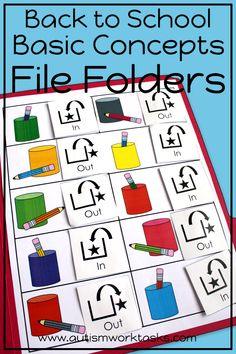 Back to School File Folder Activities - Basic Concepts Special Education Activities, Autism Activities, Back To School Activities, Special Education Classroom, Speech Therapy Activities, Music Education, Autism Teaching, Autism Classroom, Work Folders