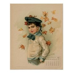 American Boy, Vintage October 1891 beautiful children prints, postcards, greeting cards by Maud Humphrey (mother of Humphrey Bogart) (reproduction of a rare 1891 calendar from our personal collection)