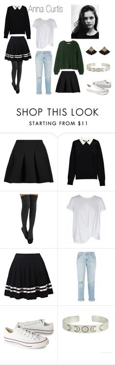 """Ann"" by sleepingmunich on Polyvore featuring T By Alexander Wang, Essentiel, MINKPINK, Current/Elliott and Converse"