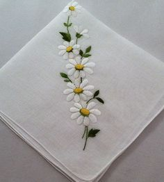 Vintage Handkerchief Embroidered Wedding by MyVintageHankies flowers vintage Your place to buy and sell all things handmade Border Embroidery Designs, Embroidery On Clothes, Embroidery Flowers Pattern, Hand Embroidery Stitches, Ribbon Embroidery, Floral Embroidery, Machine Embroidery, Bordado Floral, Vintage Handkerchiefs